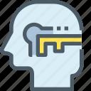 head, human, key, mind, secure, success, thinking icon