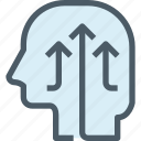 arrow, growth, head, human, mind, thinking, up icon