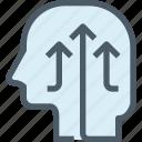 arrow, growth, head, human, mind, thinking, up