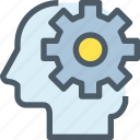 development, gear, head, human, mind, process, thinking icon