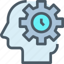 gear, head, human, management, mind, thinking, time icon