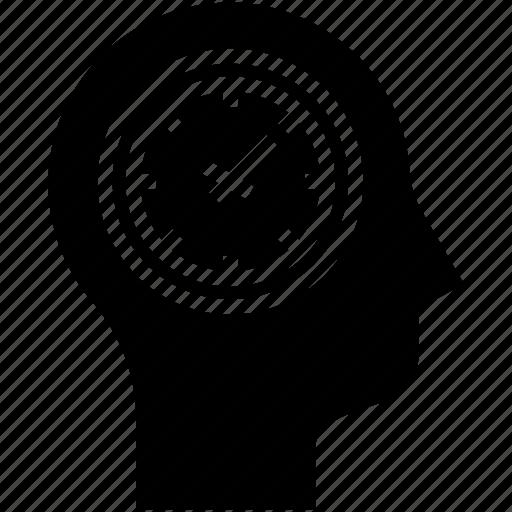 clock, human mind, thinking, time management icon