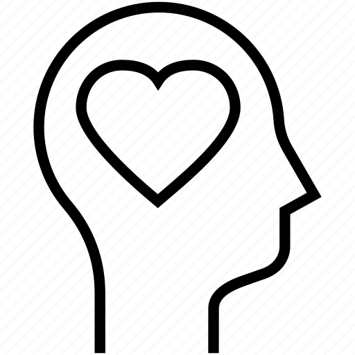 head, human mind, love, thinking icon
