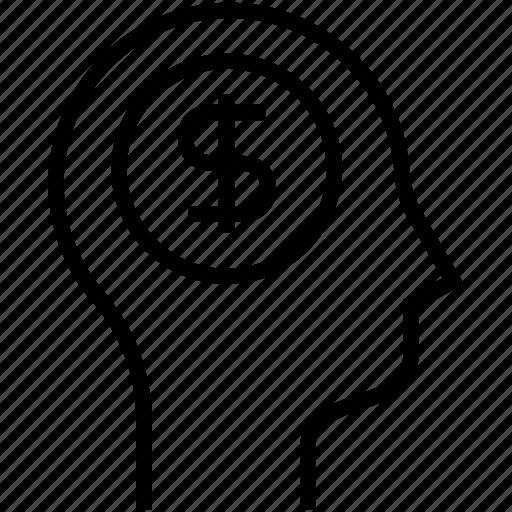 businessman, human mind, money, thinking icon