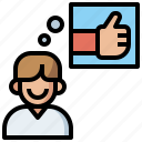 advise, comment, commerce, good, like, recommendation, seller, shopping, thumb, up, user icon