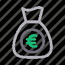 bag, currency, euro, money, saving icon
