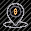 dollar, gps, location, map, pin
