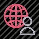 global, profile, user, web, world icon