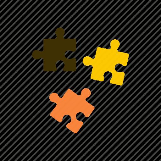 brown, idea, jigsaw, job, part, piece, puzzle icon