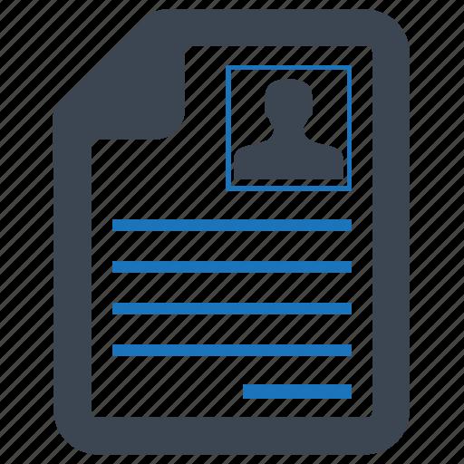 cv, employment, job, profile, resume icon