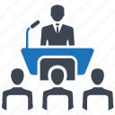 audience, business meeting, conference, meeting, speech icon