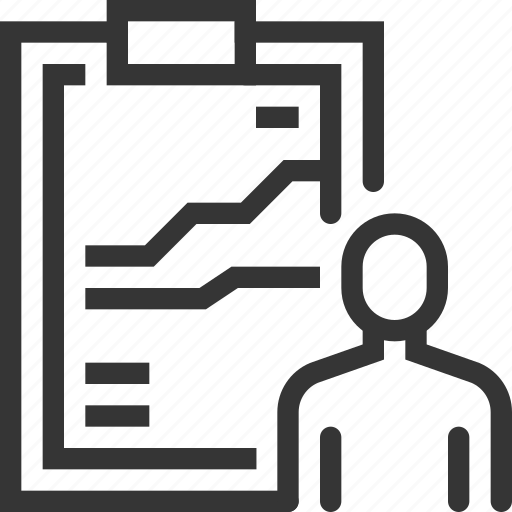 businessman, clipboard, employee, performance, productivity, statistics, tasks icon