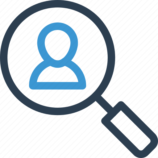 find, hr, magnifier, man, person, scan, search icon