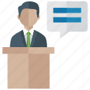 conference, demonstration, man speaking, presentation, speech icon