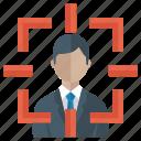 customer focus, focus group, focus person, focus user, human resources, target audience icon