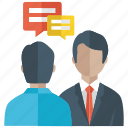 business conversation, business message, chat, communication, meeting icon