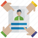 candidate searching, candidate selection, hiring, human resource, recruitment icon