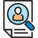 doc, document, hr, human, magnifier, resources, search
