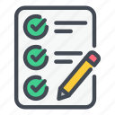 check, checklist, list, pencil, plan, task, tick icon