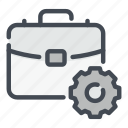 business, case, gear, management, options, settings, suit icon