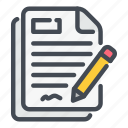 agreement, contract, document, offer, pencil, rule, sign icon