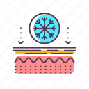 dermatology, effects, epidermis, frostbite, layer, skin, winter icon
