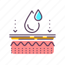 care, dermatology, effects, epidermis, layer, skin, water icon