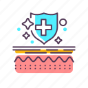 care, dermatology, epidermis, layer, medical, skin, treatment icon