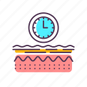 aging, care, clock, dermatology, epidermis, layer, skin icon