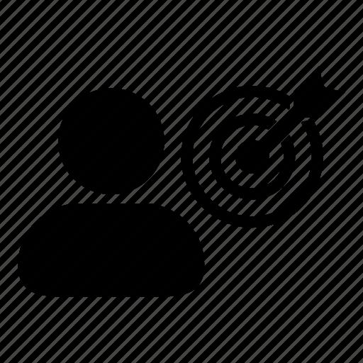 bullseye, business, dartboard, goal, man, person, target icon