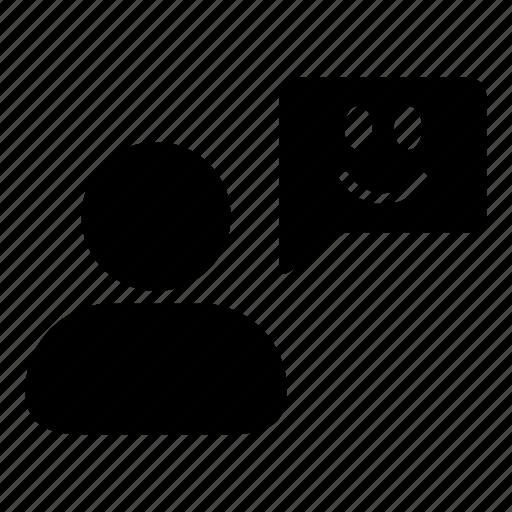 customer, happy, man, person, smile, speech, testimonial icon