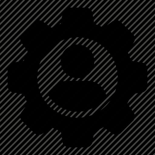 cog, configuration, gear, man, person, settings, user icon