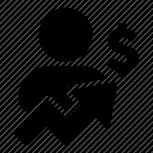 analysis, arrow, business, dollar, man, money, person icon