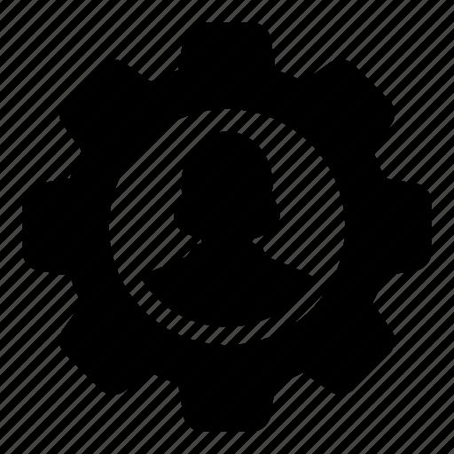 cog, configure, female, gear, settings, user, woman icon