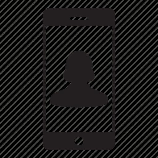 female, login, mobile, person, profie, user, woman icon