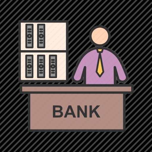 banker, businessman, cash, legal, loan, mortgage, people icon