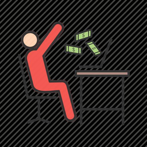 business, computer, earn, man, money, revenue, technology icon