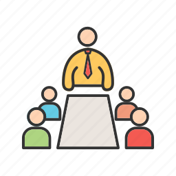 conference, discussion, group, meeting, people, team, working icon