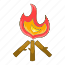 bonfire, campfire, cartoon, firewood, flame, hot, hunt icon