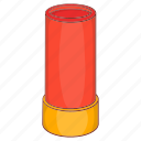 shell, cartridge, weapon, gun, brass, ammunition, cartoon icon