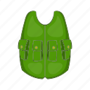 cartoon, cloth, equipment, hunter, sport, uniform, vest icon