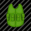 cartoon, cloth, equipment, hunter, sport, uniform, vest