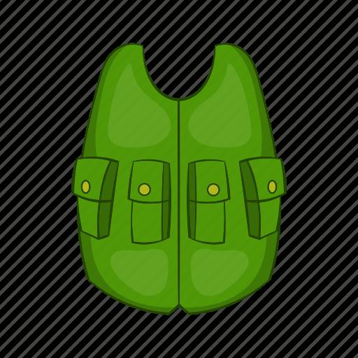 cartoon, cloth, equipment, hunter, sport, uniform, vest icon