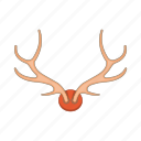 animal, antler, cartoon, deer, head, horn, stag icon