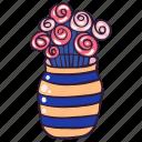 decor, doodle, flowers, roses, vase