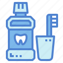 cleaning, hygiene, mouthwash, toothbrush