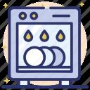 cutlery washing, dishwasher, electric washer, household appliance, kitchenware icon