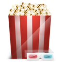 3d glasses, cinema, popcorn icon