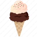 cone, dessert, food, frozen, ice cream, scoops
