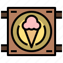 and, cream, food, ice, restaurant, shop, store icon